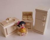 Natural Wood Toy Kitchen Appliances, Wooden Dollhouse Doll Mini Stove, Sink, Fridge, Stepstool, Waldorf, Kids gift, Jacobs Wooden Toys