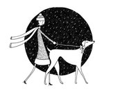 Walking in a winter wonderland // Flapper walking her dog in the snow // Black and white art print