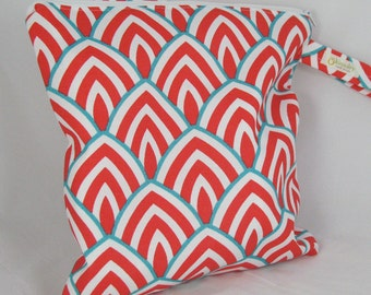 Wet Bag, Diaper Keeper, Swimsuit bag - Water Resistant Lining with Zipper Opening - Scallop Coral Aqua 11 x 11 or smaller size
