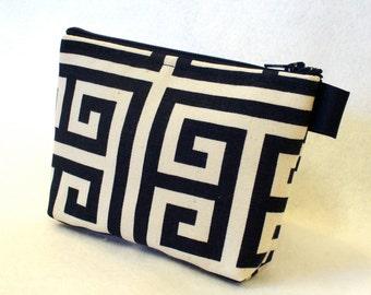 Fabric Gadget Pouch Greek Key Cosmetic Bag Zipper Pouch Makeup Bag Cotton Zip Pouch Navy Blue Natural MTO