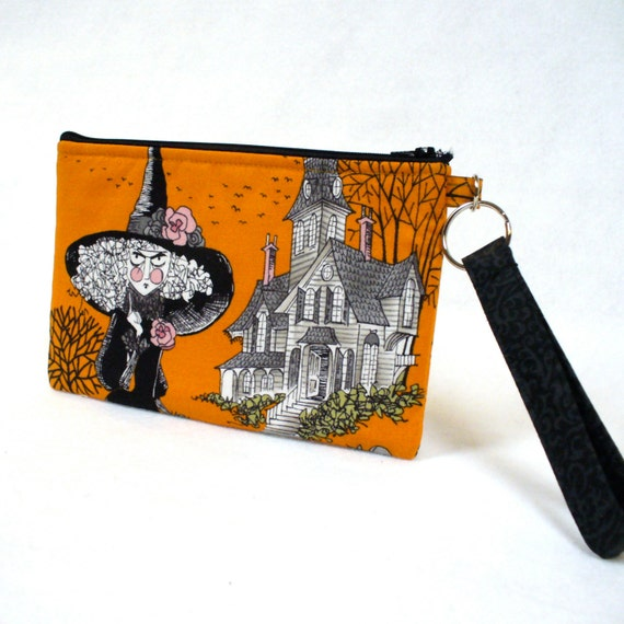 Halloween Wristlet Clutch Purse The Ghastlies Zipper Pouch Cosmetic Bag Key Fob Witch Haunted House Pumpkin Orange Black Alexander Henry