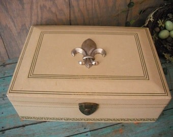 vintage French Fleur De Lis Cream and French Blue Gray JEWELRY Box Storage Chest desk box organizer