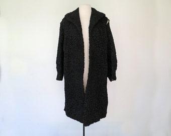 PERSIAN LAMBSWOOL // 1950s or 60s Femme Fatale Black Persian Lambswool Coat