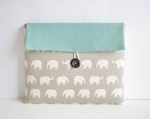 iPad Air Case, iPad Air Clutch, iPad Air Cover, Padded iPad Sleeve Case Custom Tablet Sizes - Gray Elephants