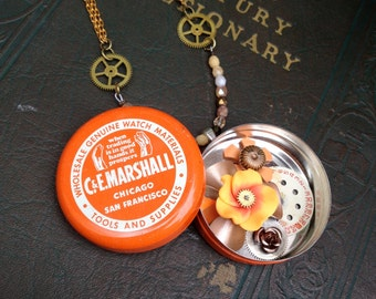 orange, white, and gold two-in-one steampunk tin necklace - 480