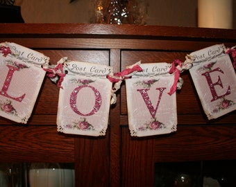 Love Banner / Garland / Shabby Chic / Rhinestones/ Bridal Shower decor