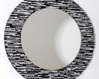 black and white round mirror, wall art- made from recycled magazines, grey, black, white, recycled magazines