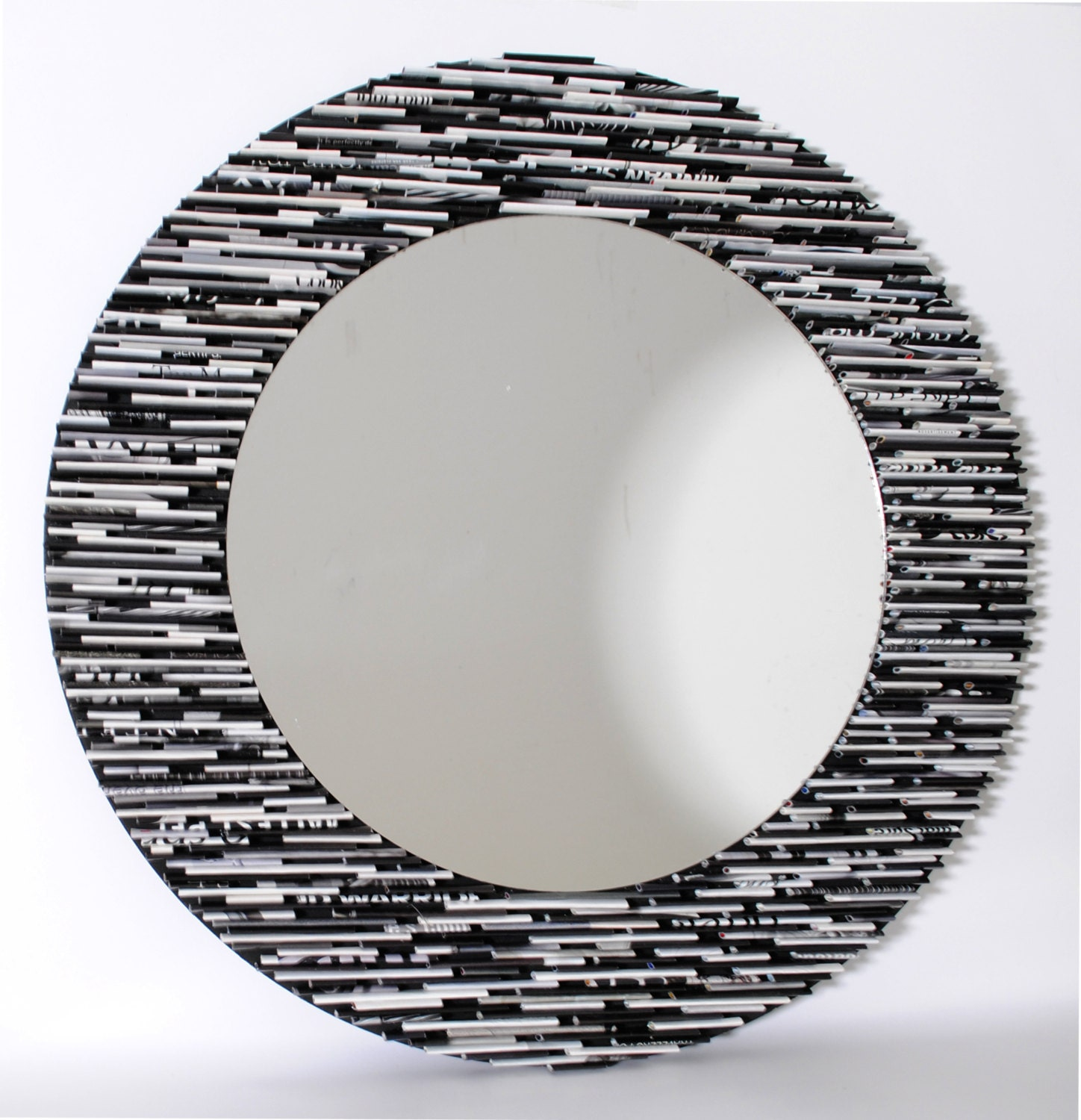 Black and white round mirror wall art made from recycled for White round wall mirror