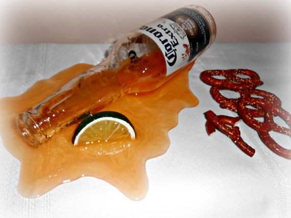 Fake Spilled Beer Bottle With Lime Wedge Fun Gag Prop Staging Decor