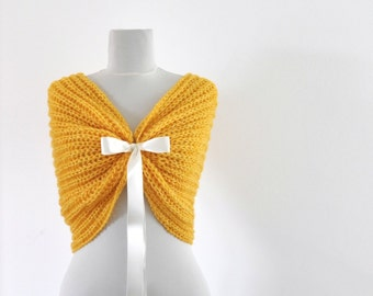 Bridal Shawl Wedding Wrap Bridal Shrug with Ribbon Yellow Sun Bright Chic Romentic Elegant