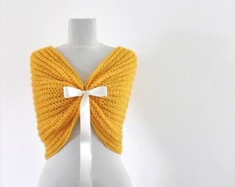 Bridal Shawl Wedding Wrap Bridal Shrug with Ribbon Yellow Sun Bright Chic Romentic Elegant