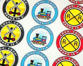 Custom Train Stickers Railroad Crossing Sign Stickers. Choo Choo Seals. Train Birthday Party Labels. Train Party Stickers. Kids Train Party