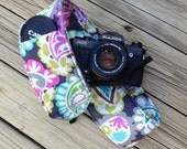 Monogramming Included Extra Long Wide Camera Strap for DSL camera Navy, Lime and Fuchsia Paisley with  lens cap pocket
