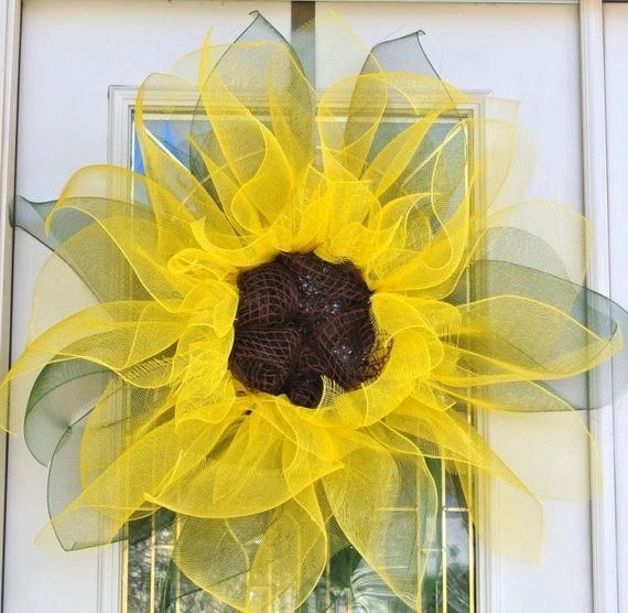 Mesh Ribbon Flower with Leaves  Choose Your Own Color