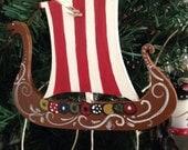 Hand painted viking ship ornament