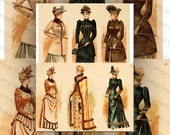 Victorian Ladies Fashion, Color Illustrations 2 Digital Collage Sheet Large Images Instant Printable Download