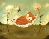 Naptime Owl Print 10x8 - Children's Art, Nursery Art, Owl, Dream, Nap, Bedtime, Baby, Cute, Bird, Sleep, Flowers, Blue, Teal, Green, Pink