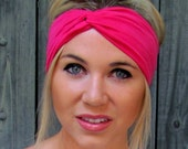 Yoga Headband Hot Pink Twist Turband Knotted Headband Cotton Jersey Headband Turban Headband Women's Hair Accessory or Choose Your Color