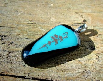 Fused Glass Pendant - Black and Blue Glass Necklace - Flowers and Butterfly Fused Glass Penant