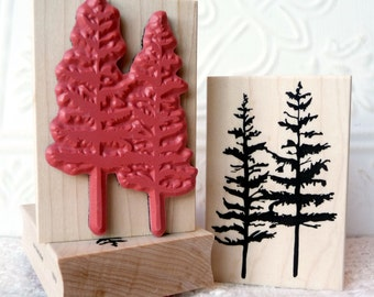 Timber twins tree rubber stamp from oldislandstamps
