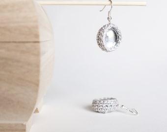 Pearl Grey Little Crochet Earrings Silver and Glass Drop Dangle Crochet Earrings Textile Jewelry