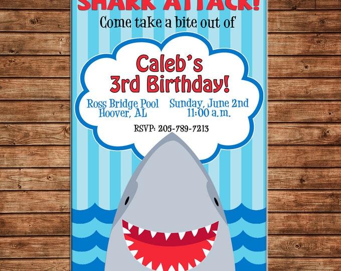 Boy or Girl Shark Fish Pool Ocean Party Birthday Invitation - DIGITAL FILE