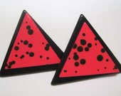 Vintage Triangle Earrings Hot Pink and Black