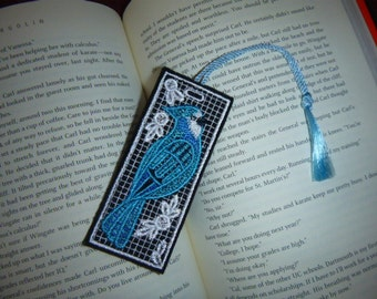 BLUEJAY - Heirloom Lace embroidered bookmark - Great gift - Ready to ship