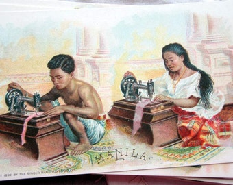 1892 Singer Sewing Machine Advertisement  Card National Ethnic Dress Costume  MANILA