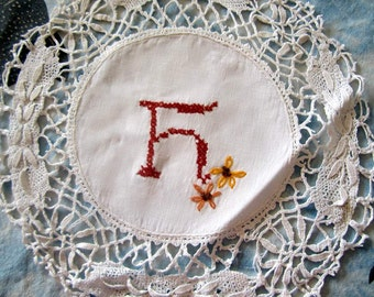 """Vintage White lace Edged Doily  With """"H"""" Monogram in Brown, Yellow Flowers.  11 """" round"""