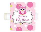 lip balm labels waterproof (No.LB3) owl pink custom baby shower favor