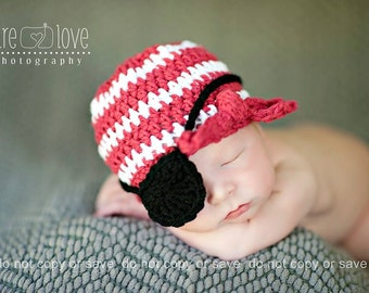 Baby Boy Pirate Hat, Baby Boy Hats, Newborn to 12 mnths, Eye Patch, Crochet Baby Hats, Newborn Pirate Hat
