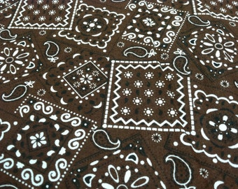 Bandana print fabric brown
