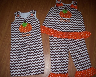 Custom Boutique Brother Sister HALLOWEEN THANKSGIVING Pumpkin set romper and pants set
