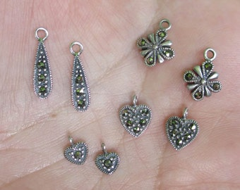 Sterling Silver Marcasite Heart, or Flower  Charms - You choose which one