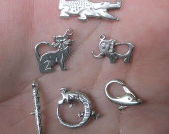 Sterling Silver Alligator, Lizard, Dolphin,Elephant or Cat Clasp or Pendant(one) - You choose which one