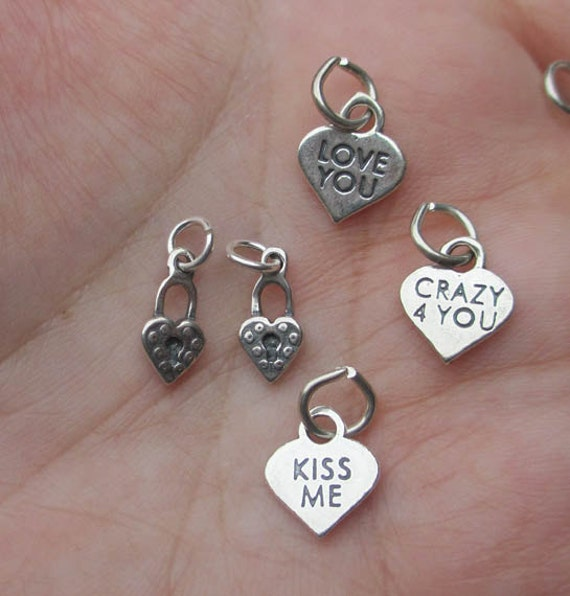Sterling Silver Candy Heart Charms or Heart locks