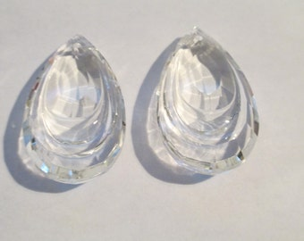 5 - 38mm Clear Chandelier Crystals Prisms  - Double Teardrop Glass Crystal Prisms (S-15)
