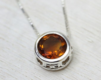 Solitaire sliding necklace with 8mm orange madeira citrine or peridot gemstone in sterling silver