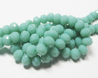 LOOSE Glass Crystal Beads - 6x8mm Rondelles - Opaque Light Mint (10 beads) - gla806