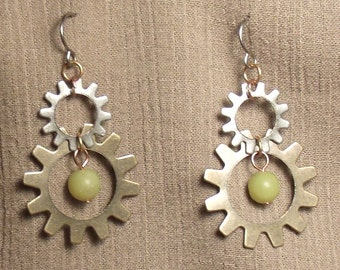 Steampunk gear earrings, mixed metals, olive new jade bead. 061424