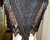 Antique 1880s Victorian Gothic Mourning Jet Black Beaded Cape Geometric Designs Snake Tails