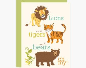 Lions, Tigers, Bears, birthday PARTY INVITATIONS, boy birthday party