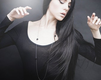 Gothic Necklace - Chain of Ruin - with Sterling Silver Plated Bar Chain and Carved Black Buffalo Horn Skulls