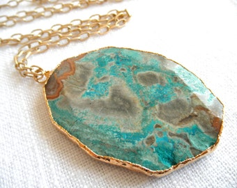 Long necklace with HUGE Raw Amazonite necklace - brown and aqua necklace - long gold necklace - long necklace - D R U Z Y 251