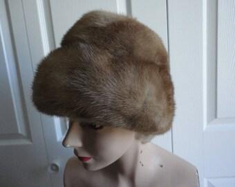 Vintage Genuine Medium Brown Mink Women Hat 60's Small 21 in, Nadelle Canada