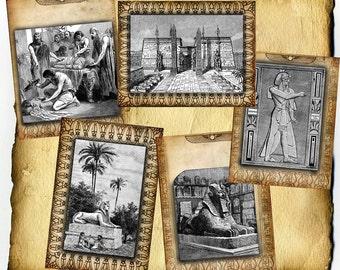 Vintage Egyptian Digital 5 Pages - Set B - Art for Book of Shadows, Grimoire, Scrapbook, Art Journaling