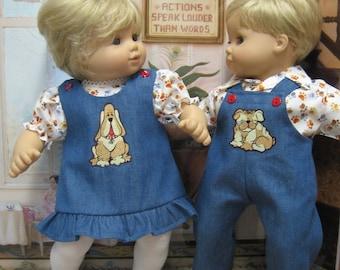 My Doggie Outfits (Denim) for Bitty Baby Twin Dolls