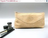 CLEARANCE SALE 50% OFF Women's Leather Clutch - Cosmetic Make up Case - in Natural Bright Sand - Nude - Medium size