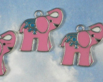 5 Pink Elephant Charms Enamel & Silver Tone Metal Trunk Raised Pendants Good Luck (P1644)